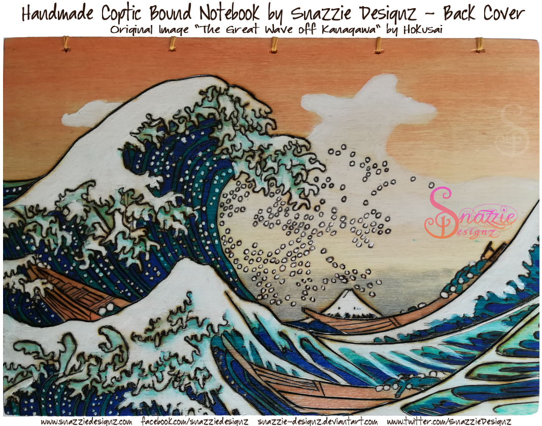 The Great Wave Coptic Bound Book by snazzie designz