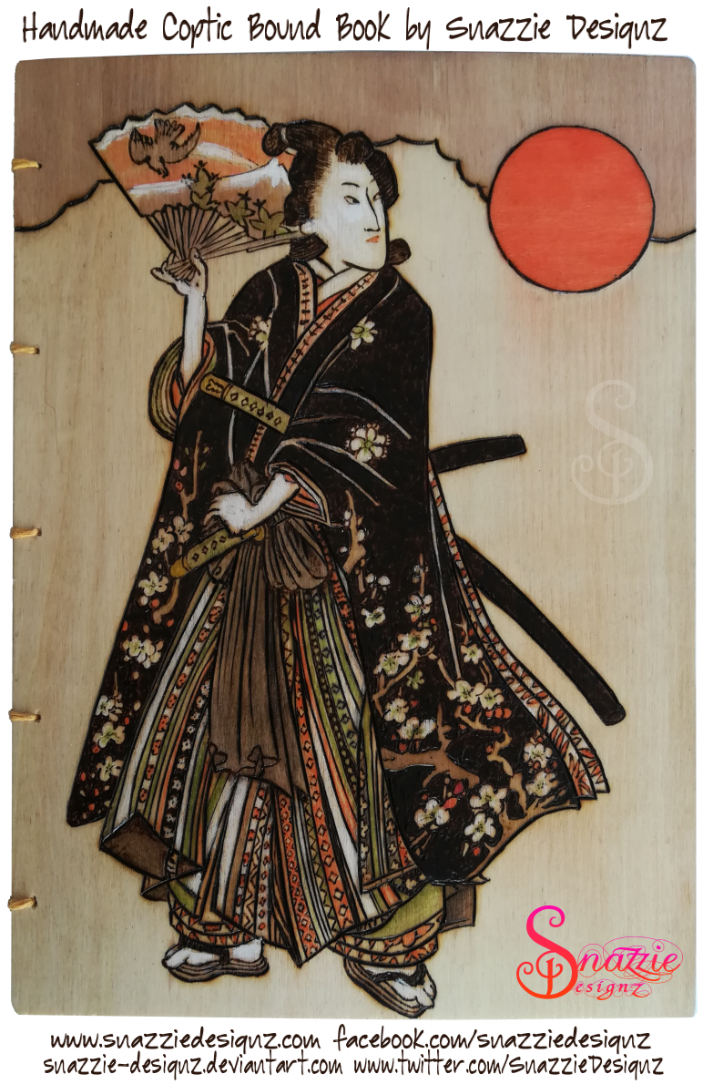 Samurai Girl Coptic Bound Book by snazzie designz