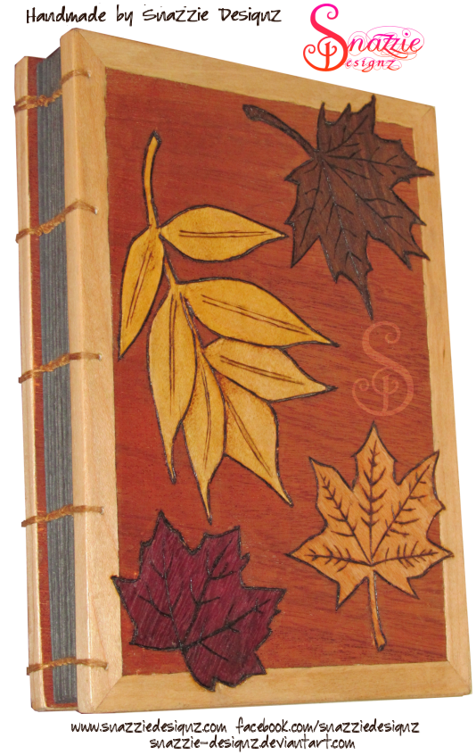 Coptic Bound Leaf Marquetry Motif Blank A5 Journal