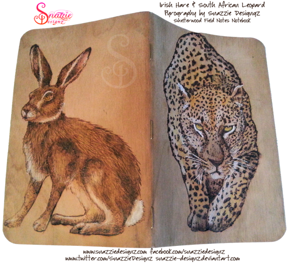 Leopard and Hare Pyrograph Field Notes Notebook
