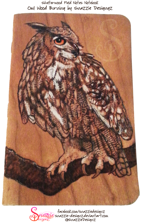 Owl Pyrograph Field Notes Notebook