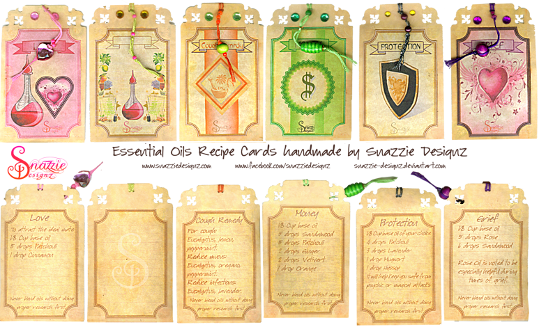 Handmade Case Bound Essential Oils Book Recipe Cards by Snazzie Designz