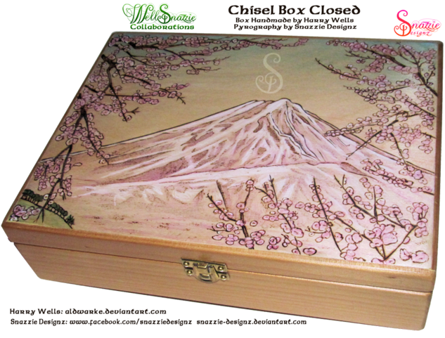 Handmade chisel Box With Cherry Blossom Pyrograph by snazzie designz