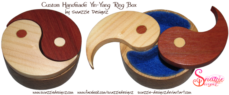 Handmade One-off Wooden Yin-Yang Wedding Ring Box by snazzie designz