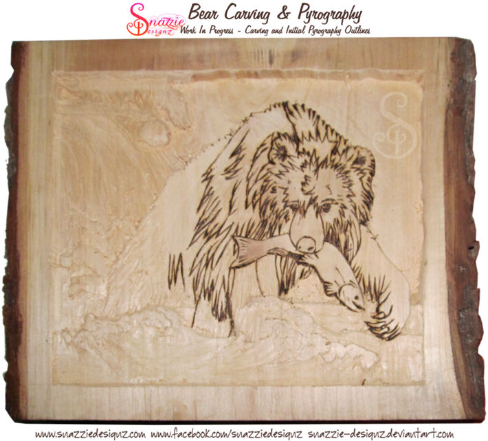 Bear carving - Beginning of the pyrographed outlines