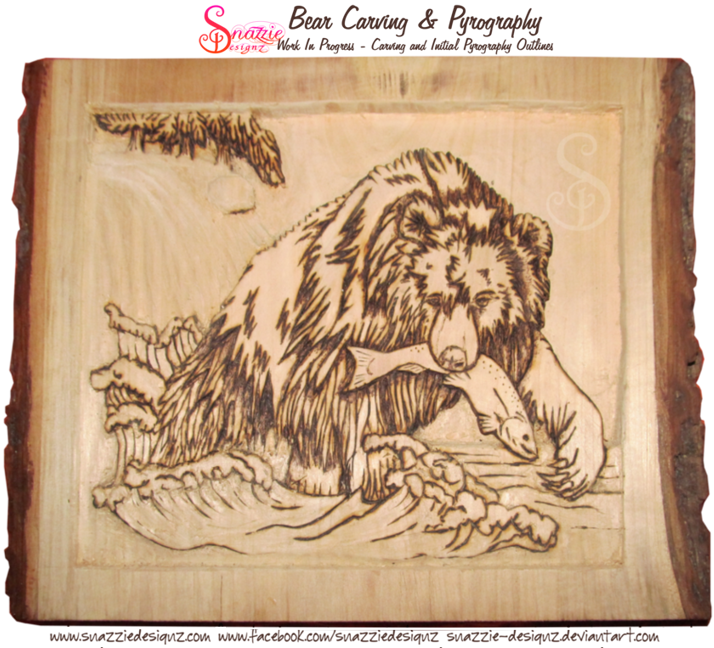 Bear Carving - Pyrography outlines complete and waterfall carved