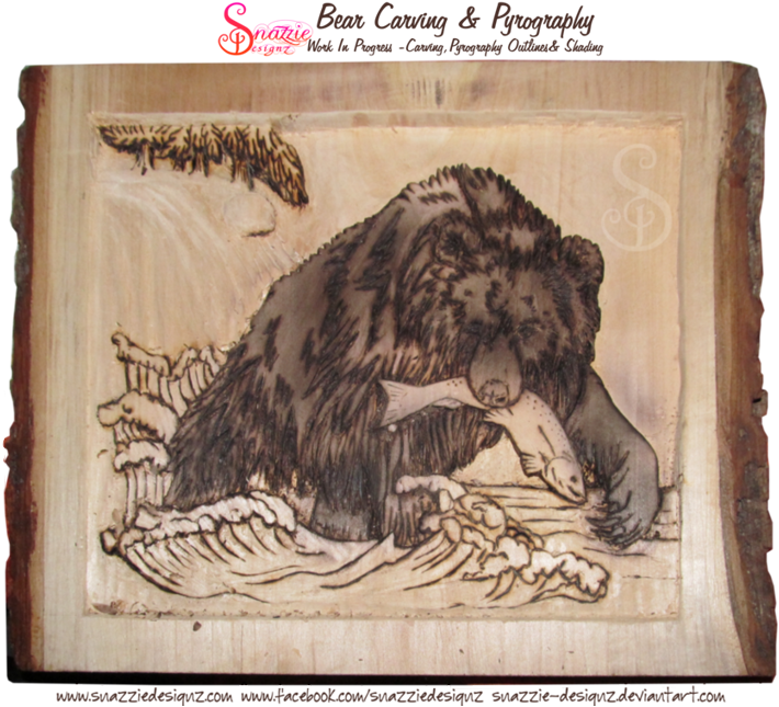 Bear Carving - Pyrograhphed (wood burned) outlines and shading