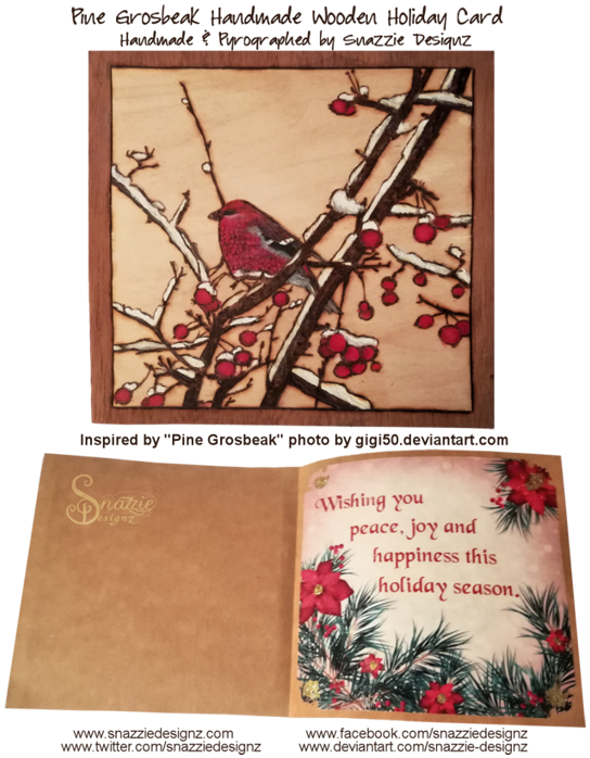 Pine Grosbeak Holiday card Project 2018 by snazzie designz