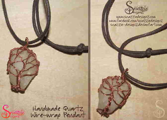 Quartz Pendant With Wire-Wrapped Tree