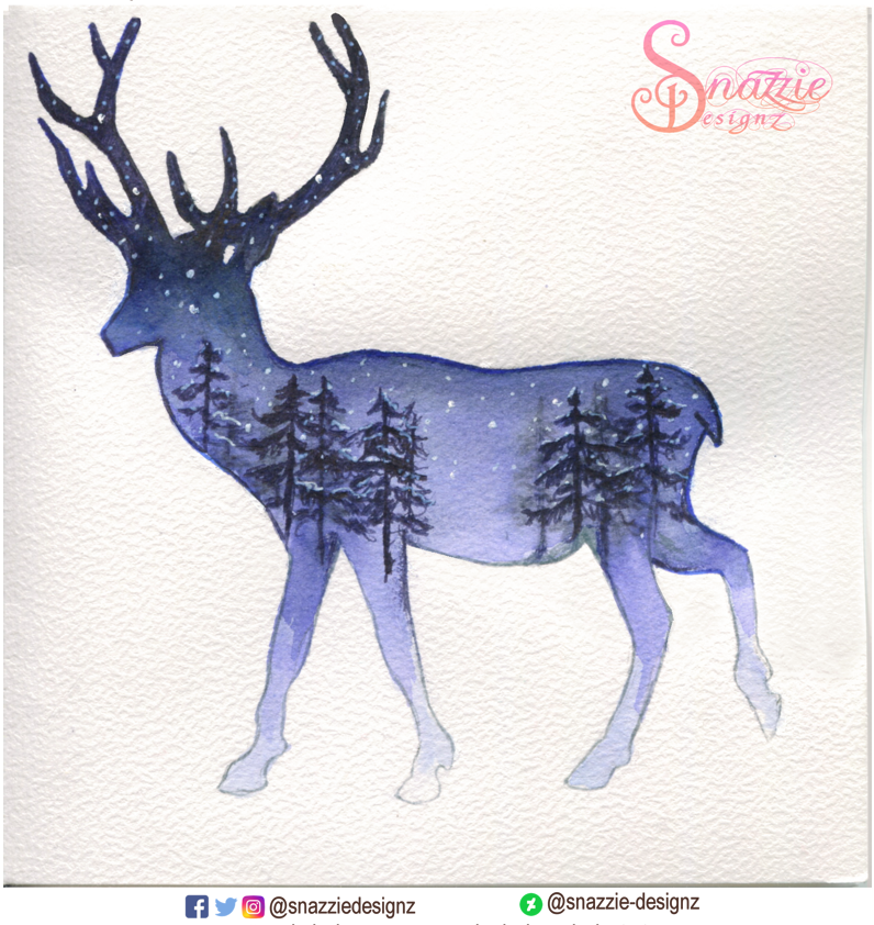 Handmade Deer Winter Card by Snazzie Designz