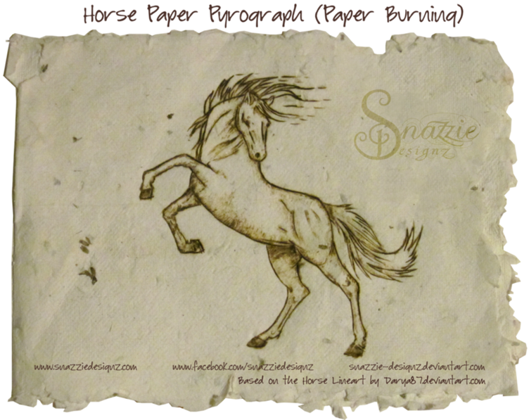 Horse Pyrograph on Paper by snazzie designz