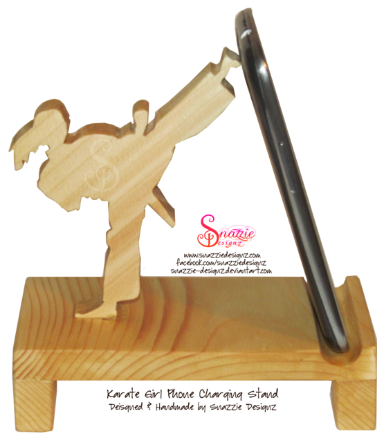 Karate Girl Phone Stand by snazzie designz