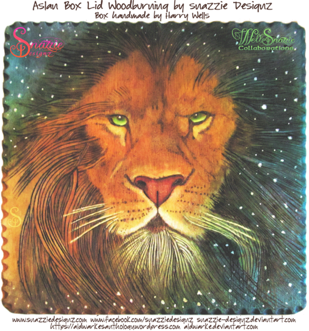 Aslan pyrography With Colour