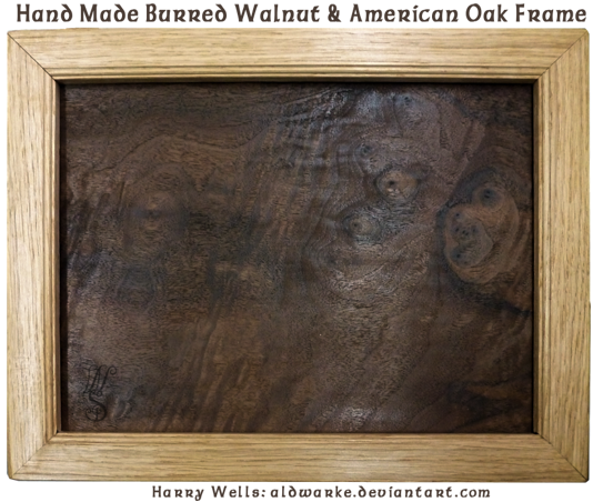 Handmade walnut and American oak frame by Aldwarke