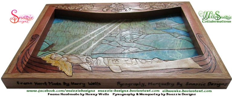 The Lady of Shalott  Handmade Frame and Pyrograph Bottom by snazzie designz