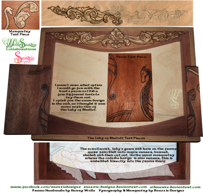 The Lady of Shalott Handmade Frame and Pyrograph Test Pieces by snazzie designz