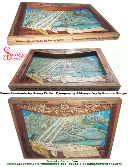 The Lady of Shalott  Handmade Frame and Pyrograph Vert-WM by snazzie-designz by snazzie designz
