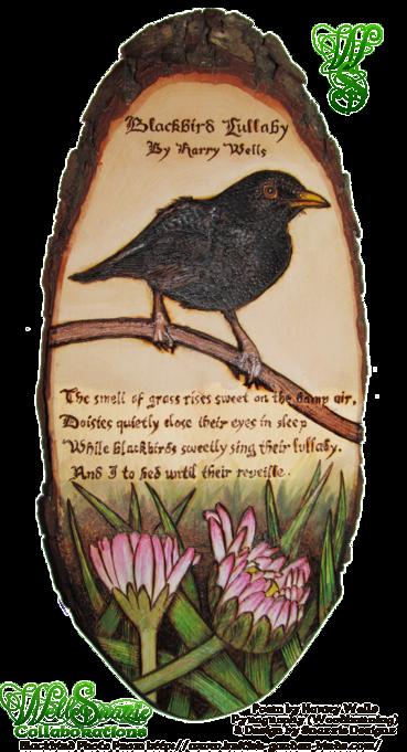 Blackbird Lullaby Woodburning Pyrograph