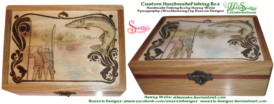 Fishing Box Woodburning Pyrograph